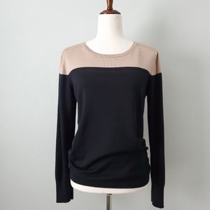 Spense Black & Tan Soft Lightweight Sweater Large
